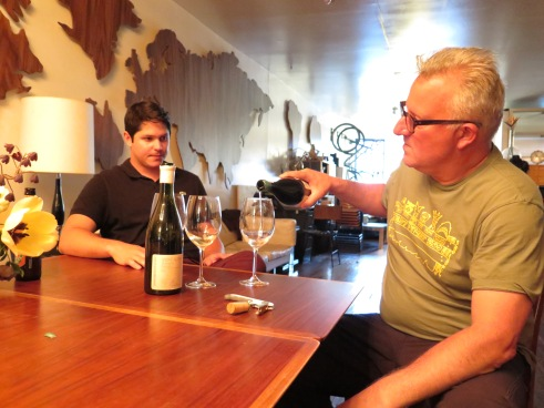 "Alex Pitts and Abe Schoener at the ""Essex St Alumni Association"" loft where Schoener holds tastings, photo by author"